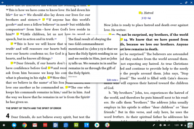 logos android bible app note popup