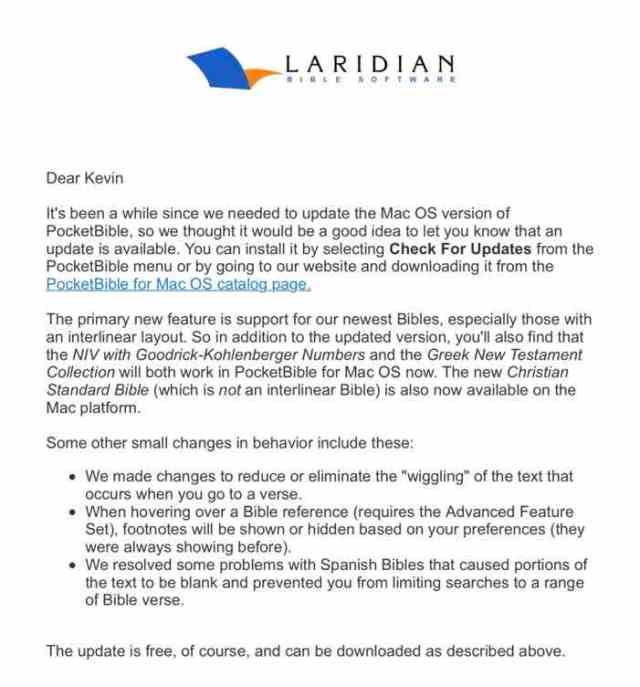Laridian PocketBible for Mac 1 3 Update Released