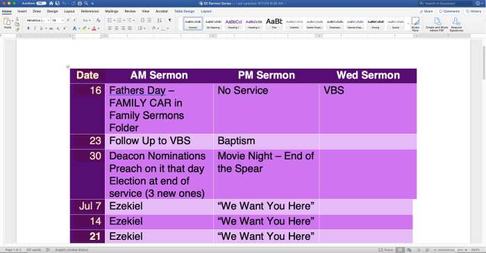 use a Microsoft word table in a word document to organize sermon planning in sermon prep