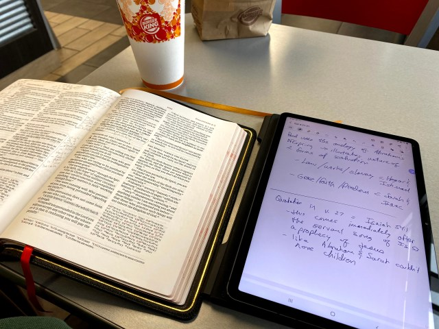using the samsung galaxy tab s7 for devotional note-taking