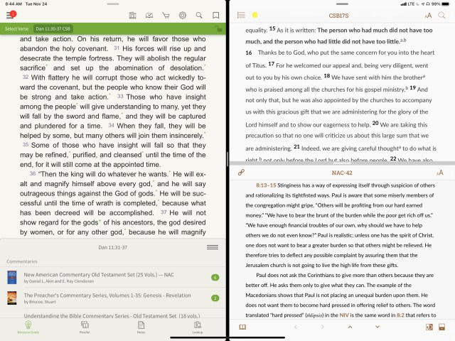 two Bible apps using slide over on ipad