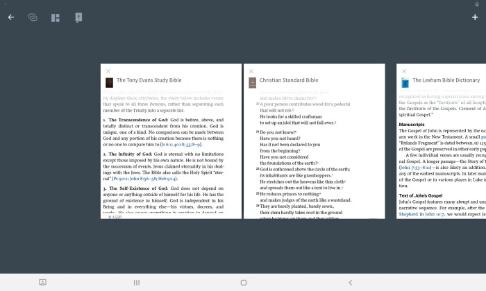 the books layout tools in Logos make this one of the 5 best bible apps for Android