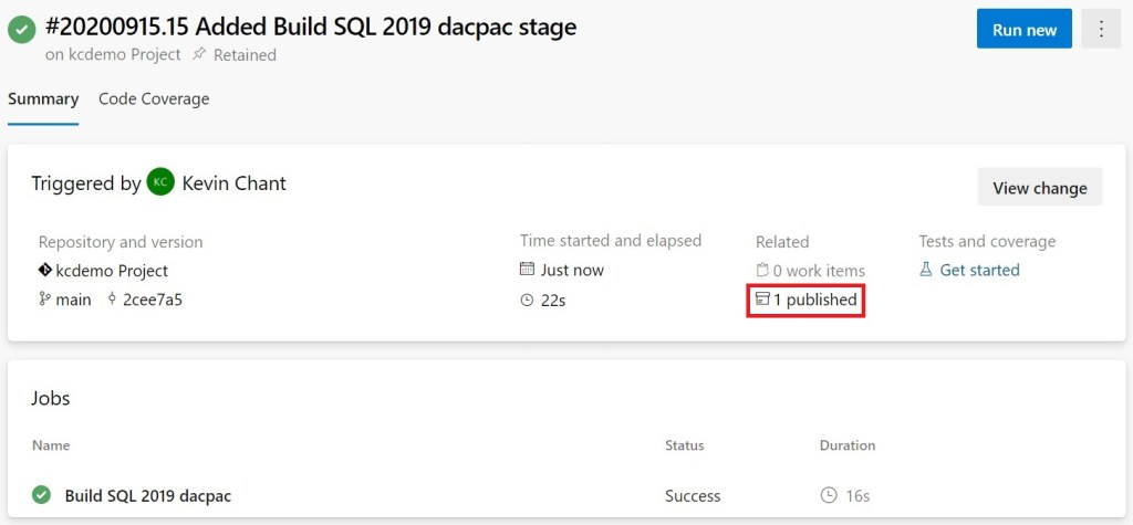 Build SQL 2019 stage completed