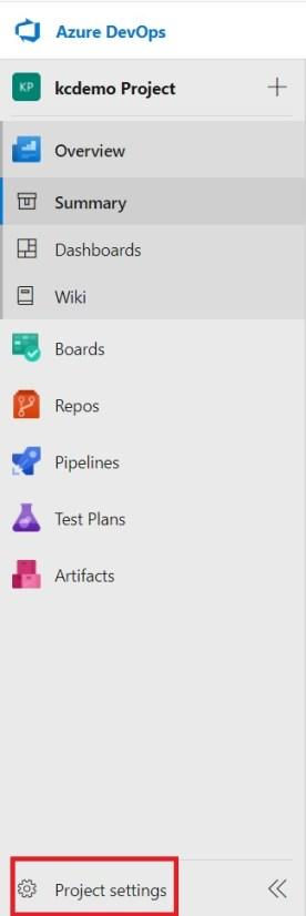 Project settings in Azure DevOps