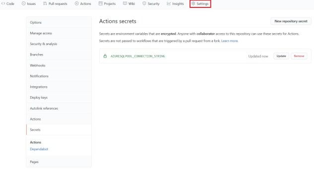 Adding a secret in GitHub