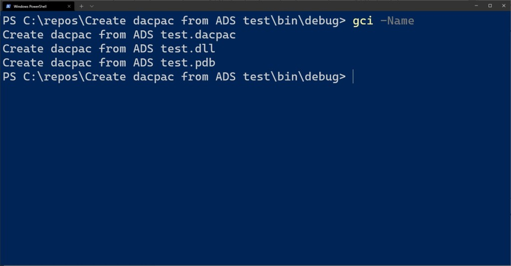 Created dacpac for an Azure Synapse Analytics Dedicated SQL Pool