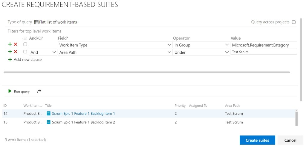 Creating requirements-based suites