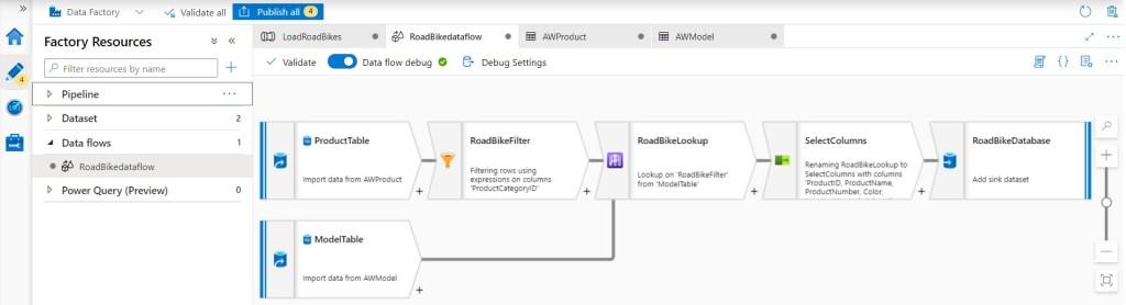 Data flow in Azure Data Factory