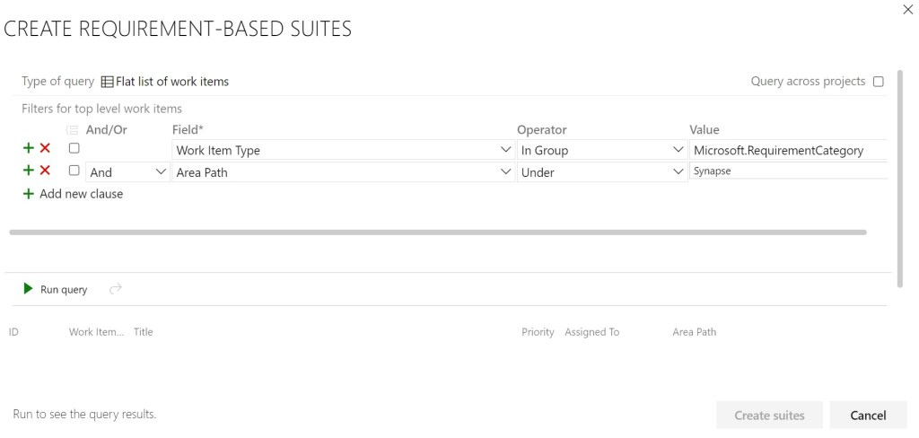 Create requirements-based suites designer in Azure Test Plans