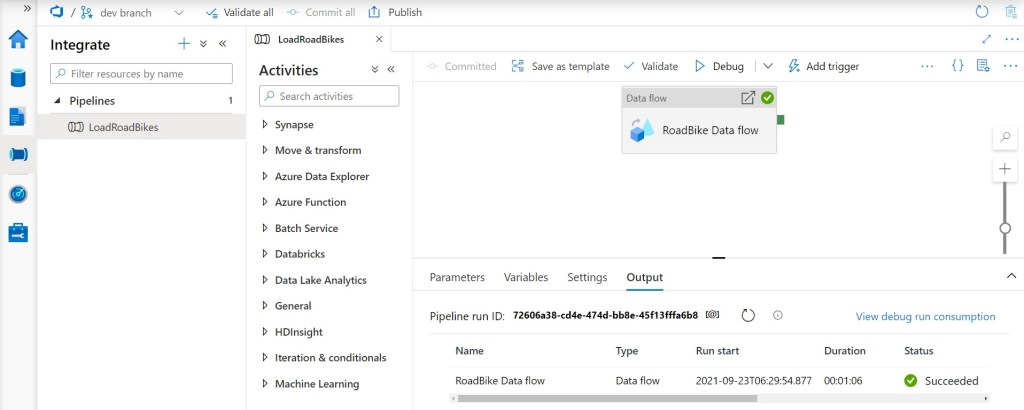Pipeline in Synapse Studio after copying an Azure Data Factory pipeline to Synapse Studio
