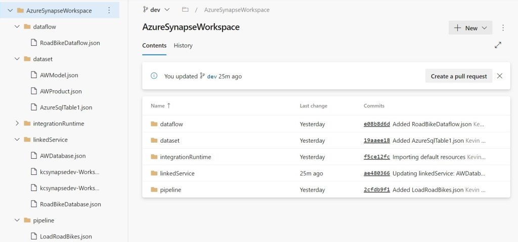 Same objects in Azure Synapse repository