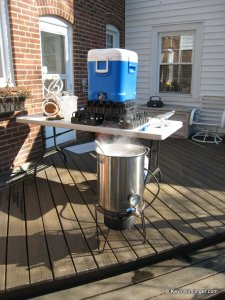 Mash tun and kettle out on my back deck
