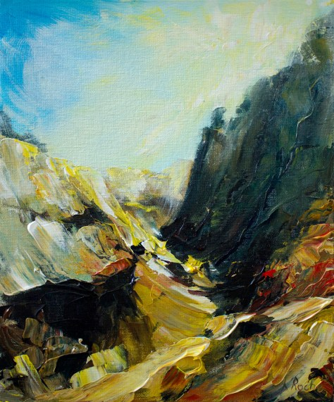 acrylic landscape painting of dusty valley in bright sunlight