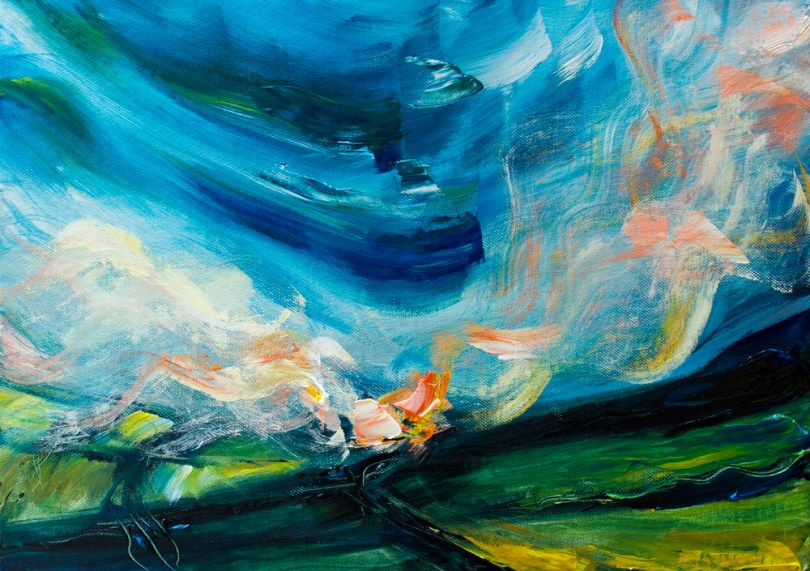 acrylic landscape/abstract painting of fields and diffraction