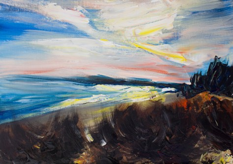Irish landscape painting of Dodd'd Rock beach in Wexford
