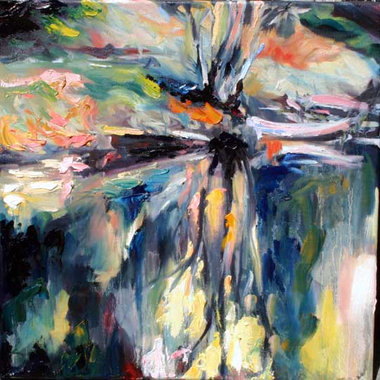 colourful oil painting of tree on river bank in Co. Wexford, Ireland