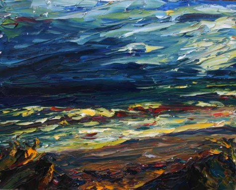 colourful palette knife painting of dark stormy seascape in Ireland