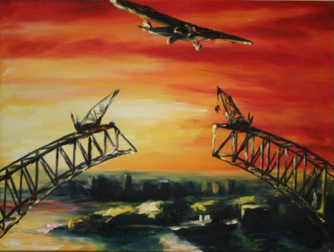 painting of unfinished Sydney Harbour bridge with dramatic red sunset