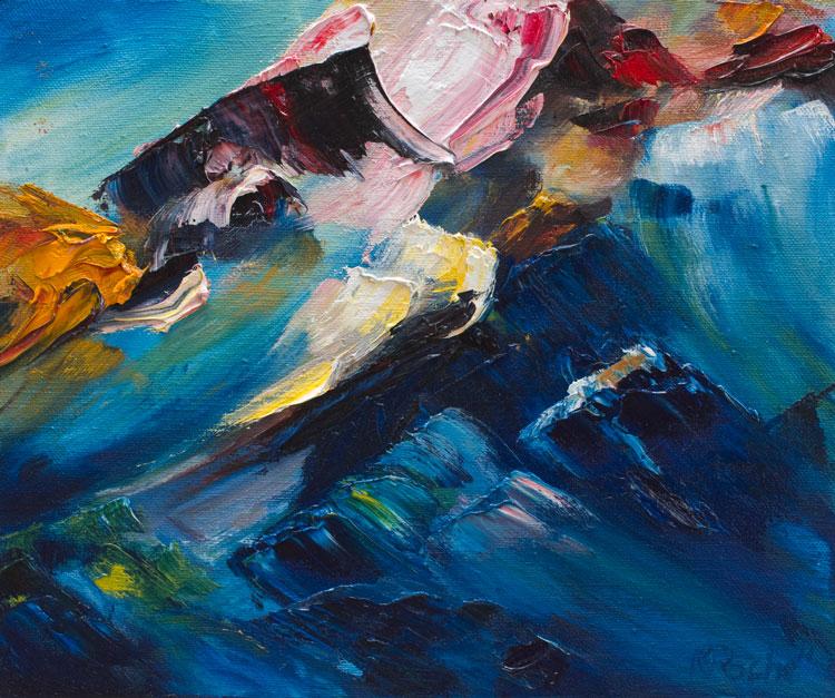 oil painting of blue rockpool on Irish beach