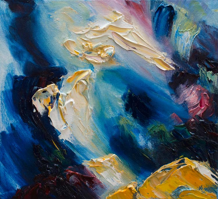 Irish abstract oil painting of waves breaking over rocks