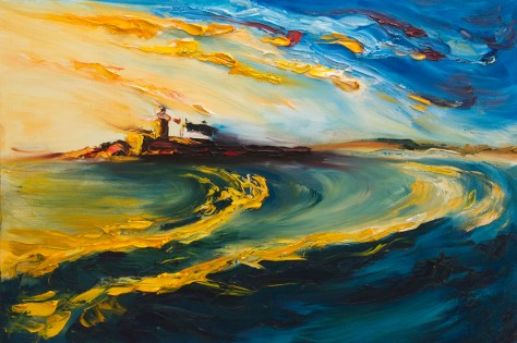 colourful oil seascape painting of Fenit Lighthouse in evening light