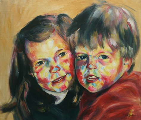 colourful acrylic portrait painting
