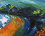 colourful seascape painting with strong oranges and greens
