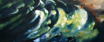 green ripples on dark river water reflecting sunlight