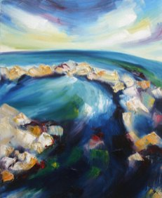 Tide-pools on the Irish Atlantic coast painted with strong brush strokes and colours