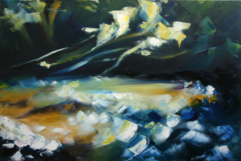 painting of bright flashes of light on woodland river surface