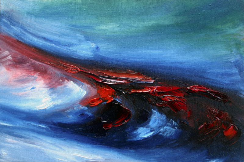 red wave on blue sea painted with brush and palette knife