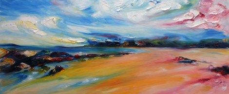 colourful windswept painting of Ballybunion beach