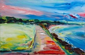 colourful landscape painting of Courtown beach in Ireland