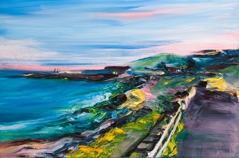 Landscape painting of Courtown with rich colours and interesting textures