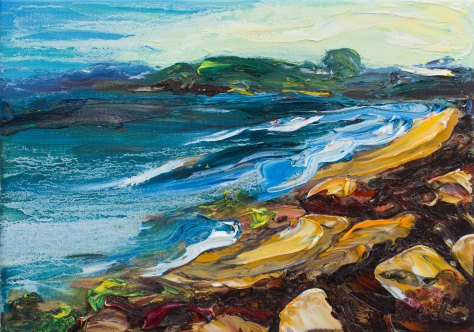 Courtown beach palette knife oil painting