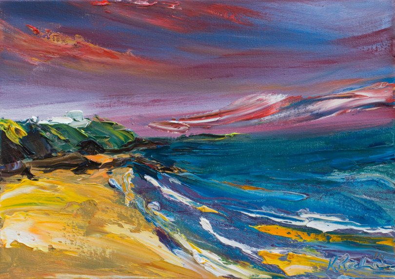 oil painting of beach in evening light