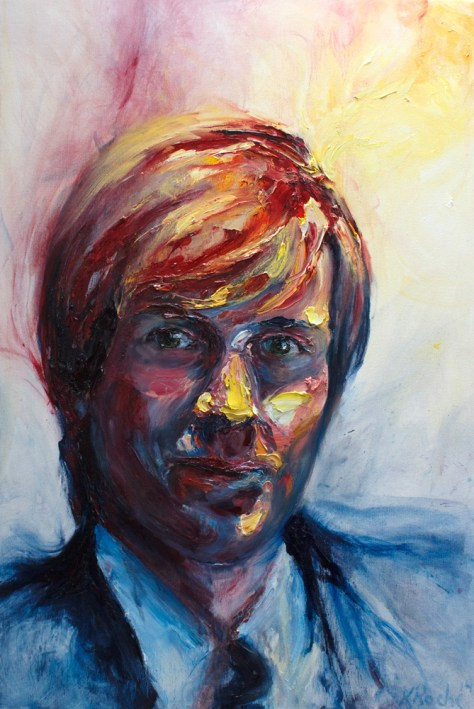 self portrait in oil paint on canvas