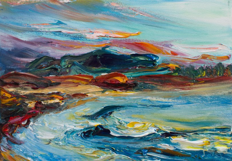colourful oil painting of Tara Hill and Courtown beach in Wexford