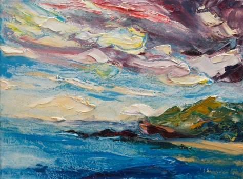 seascape painting from Wexford with colourful sky