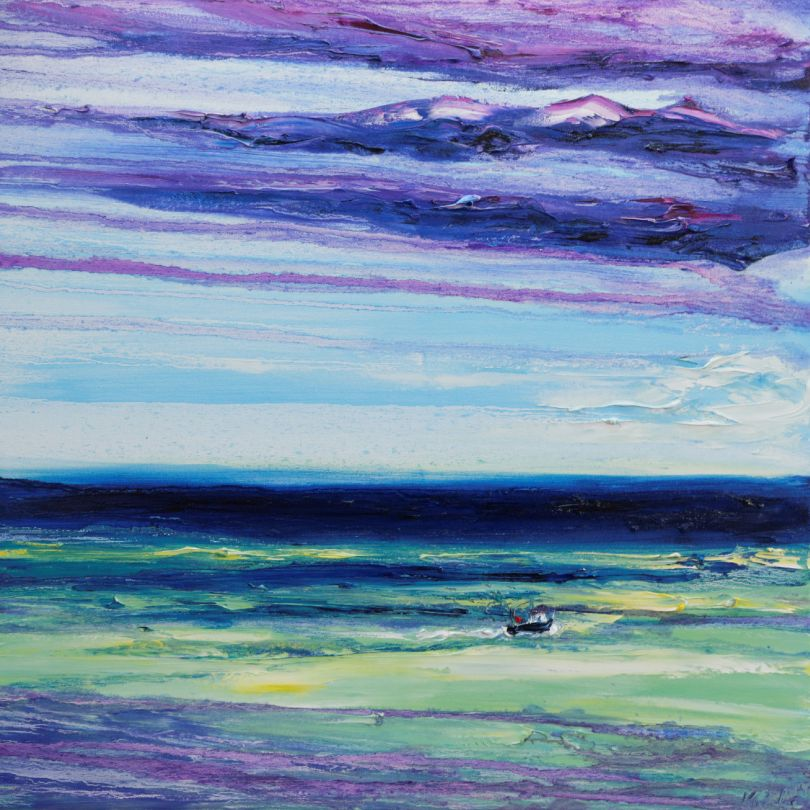 Painting of fishing boat on a windy sea off Bray Head