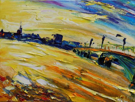 Painting of Wexford harbour bridge in bright evening sun