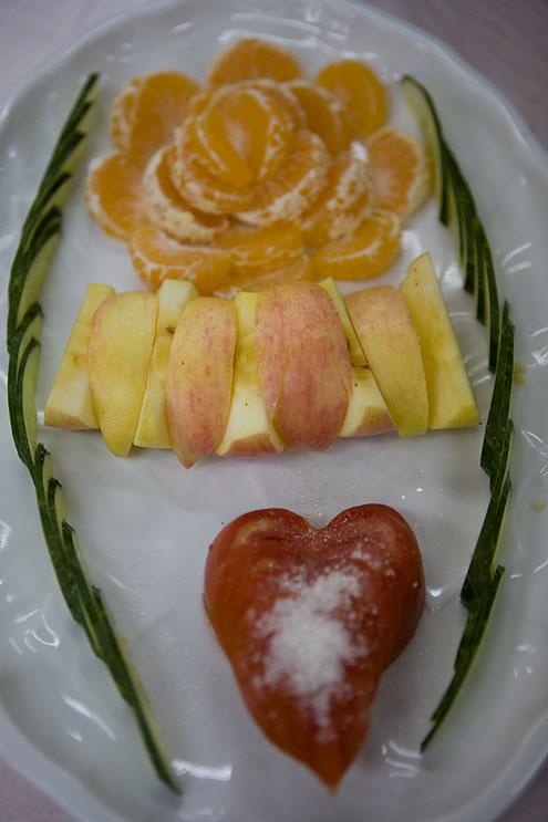 A platter of fruit.