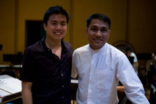Tan and The Captain, who conducts the orchestra.