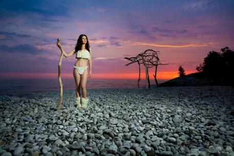 Laura Hollick and Beast on Beach