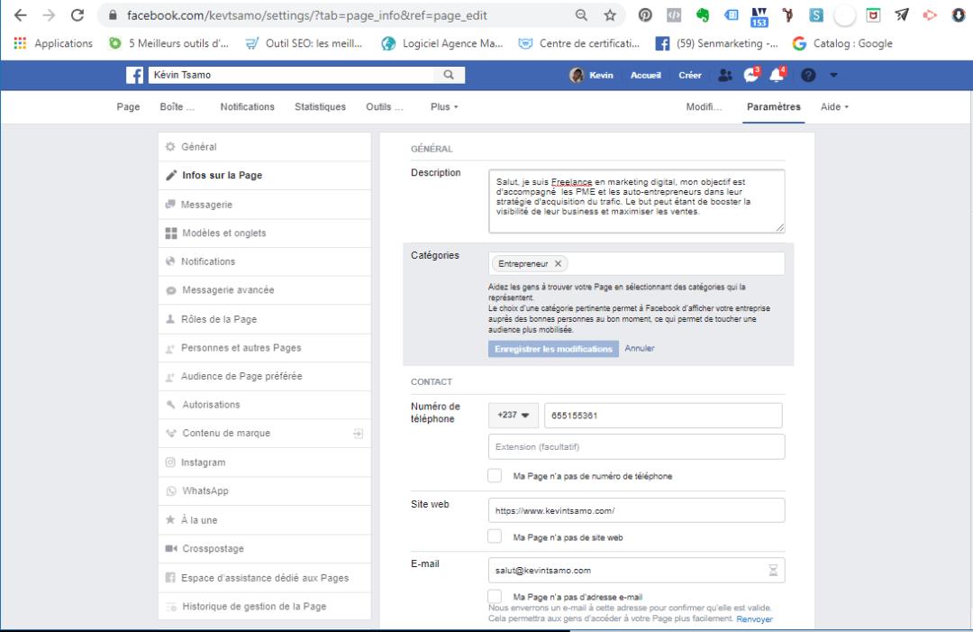 Configurez les paramètres généraux de Facebook