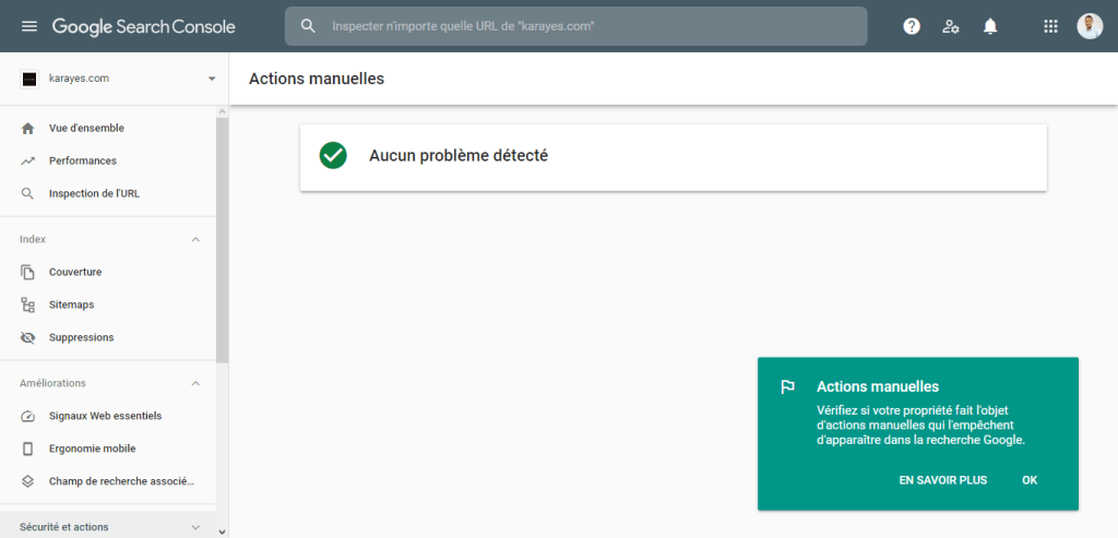 Action manuelle Google search console