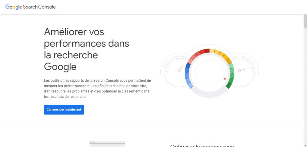 Accueil Google Search Console
