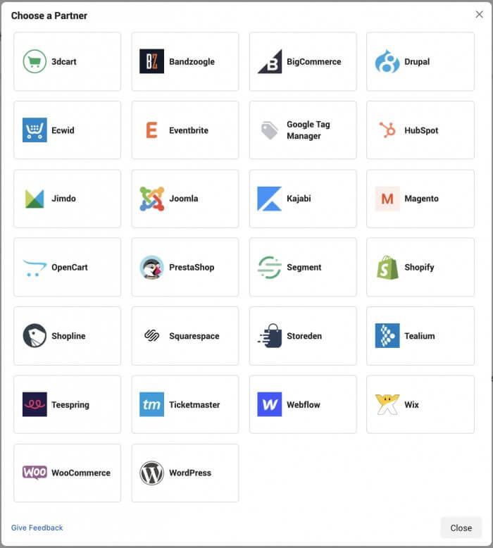 Partenaire d'intégration du pixel