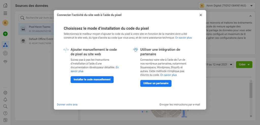 Modes d'installation du pixel Facebook