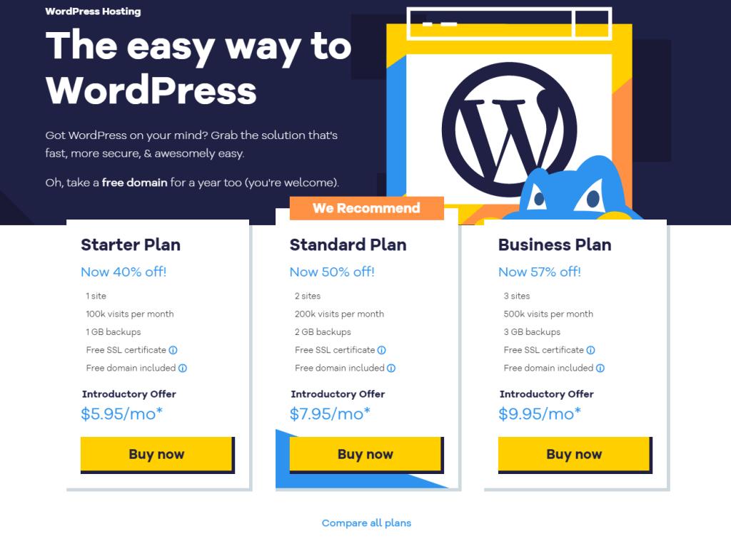 plans hebergement wordpress hostgator